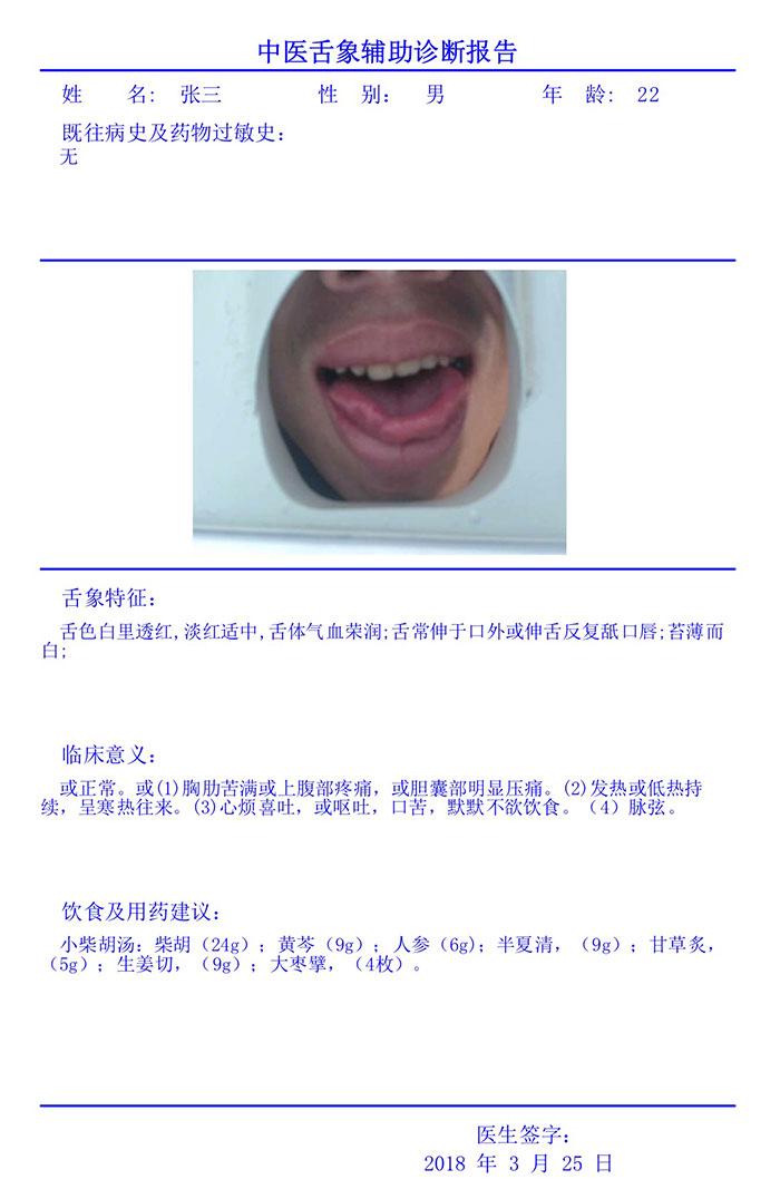 中医舌诊图像分析系统诊断报告